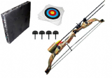 SILCO Camo Youth Archery Compound Complete Bow Set 20Lbs with Foam Boss